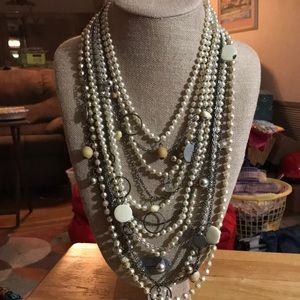 Express Long Pearl and Silver Statement Necklace